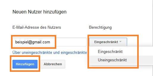 Google Search Console: Neuen Nutzer hinzufügen