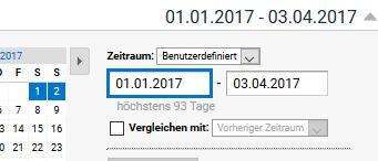 Maximal 93 Tage können bei Segmenten mit Filterungen nach Nutzern betrachtet werden