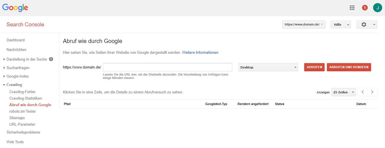 Google Search Console: Abruf durch Google