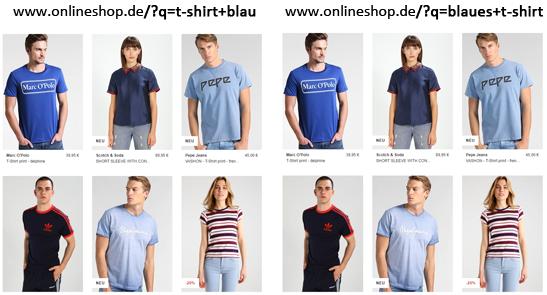 Suchergebnisseiten der Shopsuche - 2 unterschiedliche URLs liefern denselben identischen Inhalt
