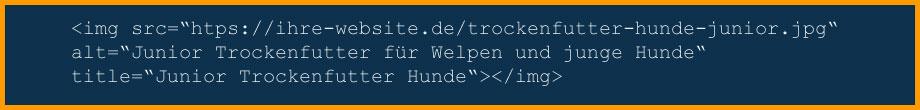 Beispiel html-Code für die Einbettung eines Bildes in einen Kategorietext