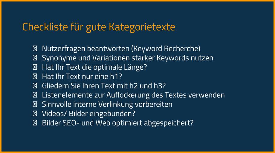 Checkliste: Worauf sollten Sie bei der Erstellung von Kategorietexten achten?