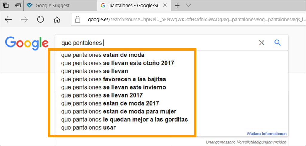 Google Suggest zu que pantalones