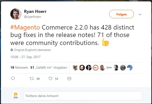 Tweet Ryan Hoerr zu Magento 2.2