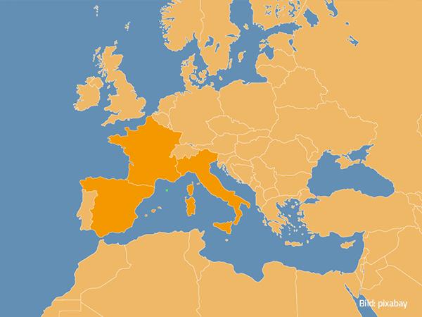 Frankreich, Spanien, Itlanien