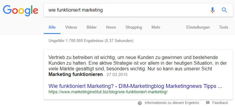 Featured Snippet als Text