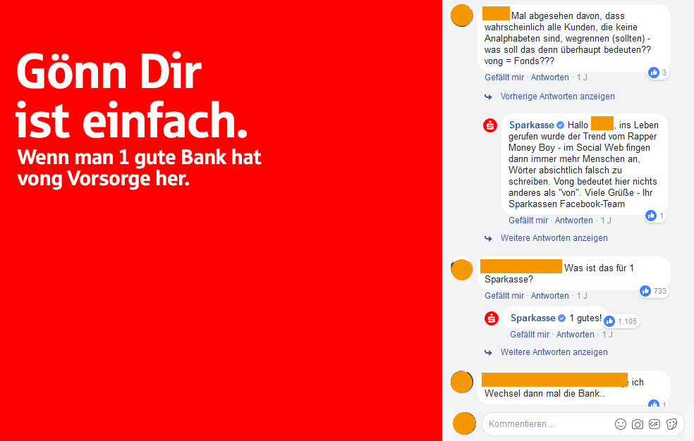 Sparkasse Screenshot via Facebook