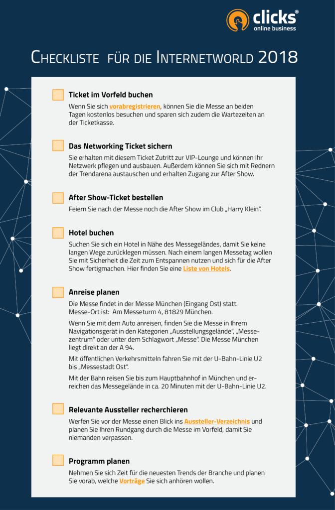 Checkliste Internetworld 2018
