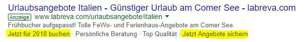 Call to Action AdWords-Anzeige