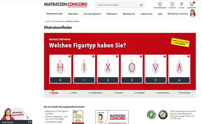 Screenshot von www.matratzen-concord.de