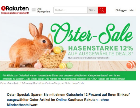 Screenshot von www.rakuten.de