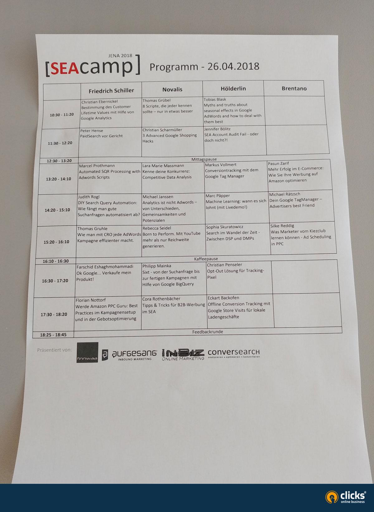 SEAcamp Sessionplan 2018