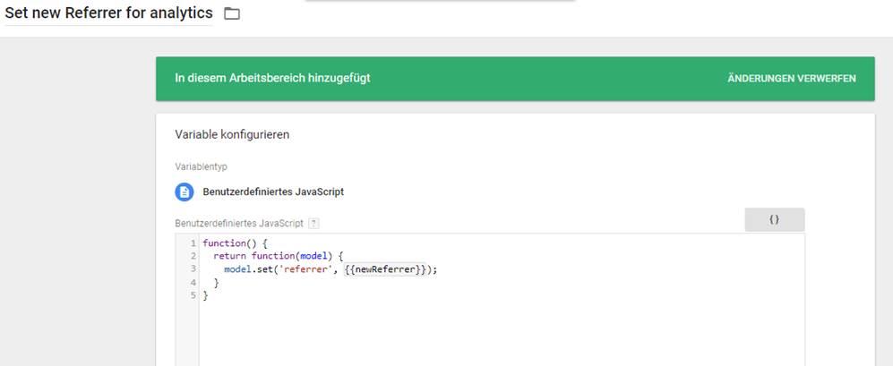 Der CustomTask setzt einen neuen Referrer für den Analytics Page View