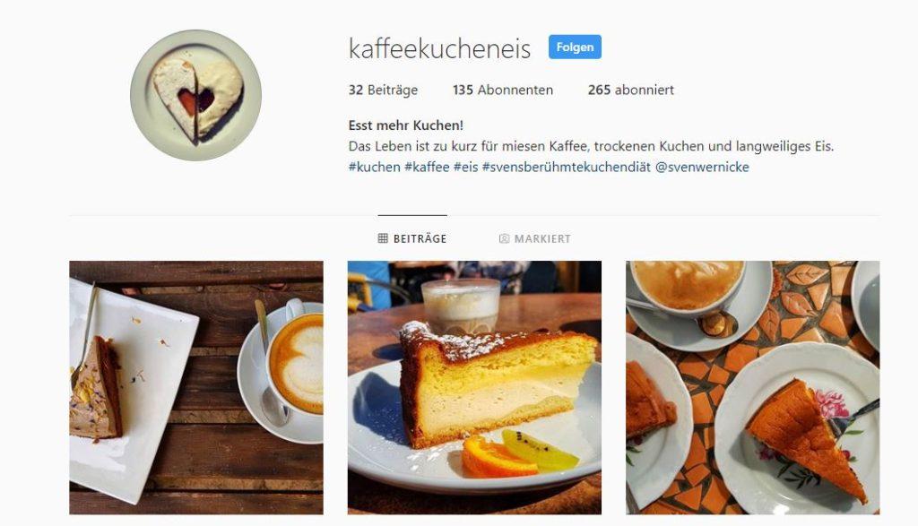 Screenshot Instagram-Profil kaffeekucheneis