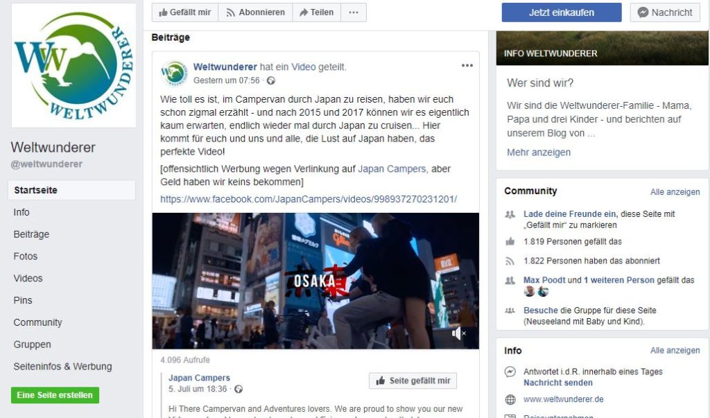 Screenshot Facebook-Profil weltwunderer