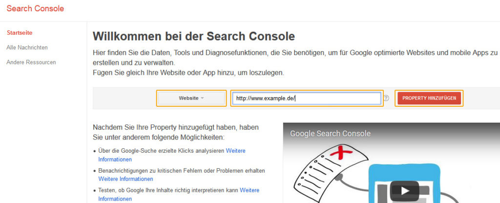 Google Search Console - Anmeldung