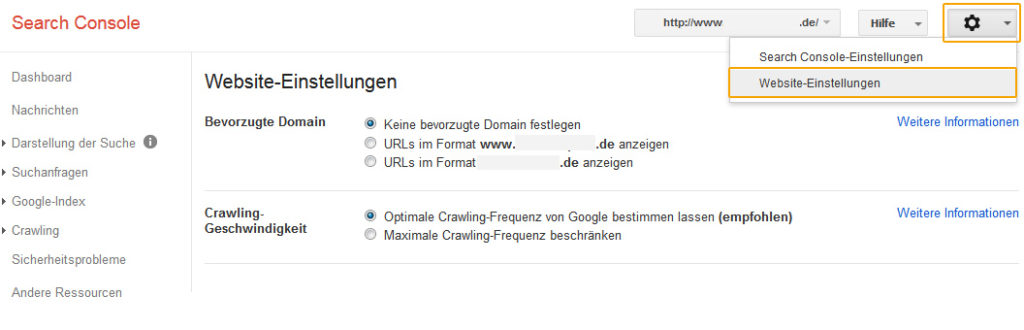 Google Search Console – Website-Einstellungen
