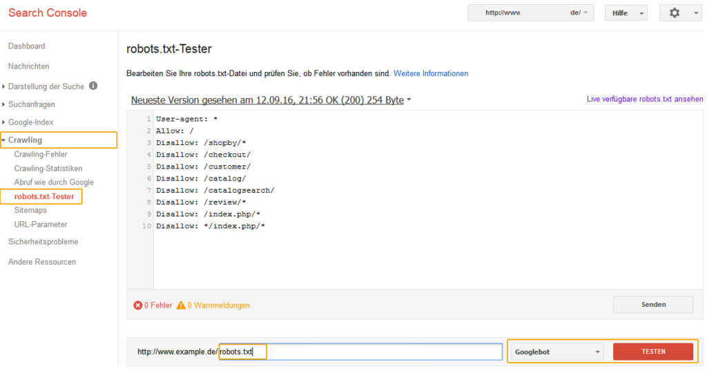 Google Search Console – Robots.txt Tester