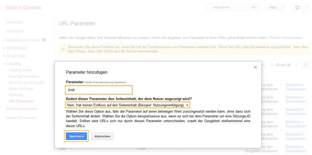 Google Search Console – URL Parameter hinzufügen.
