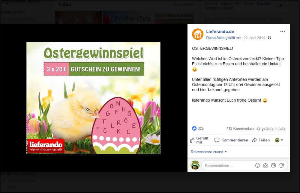 Lieferando Gewinnspiel zu Ostern