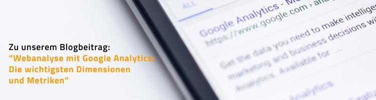 """Link zu Blogbeitrag """"Webanalyse mit Google Analytics"""""""
