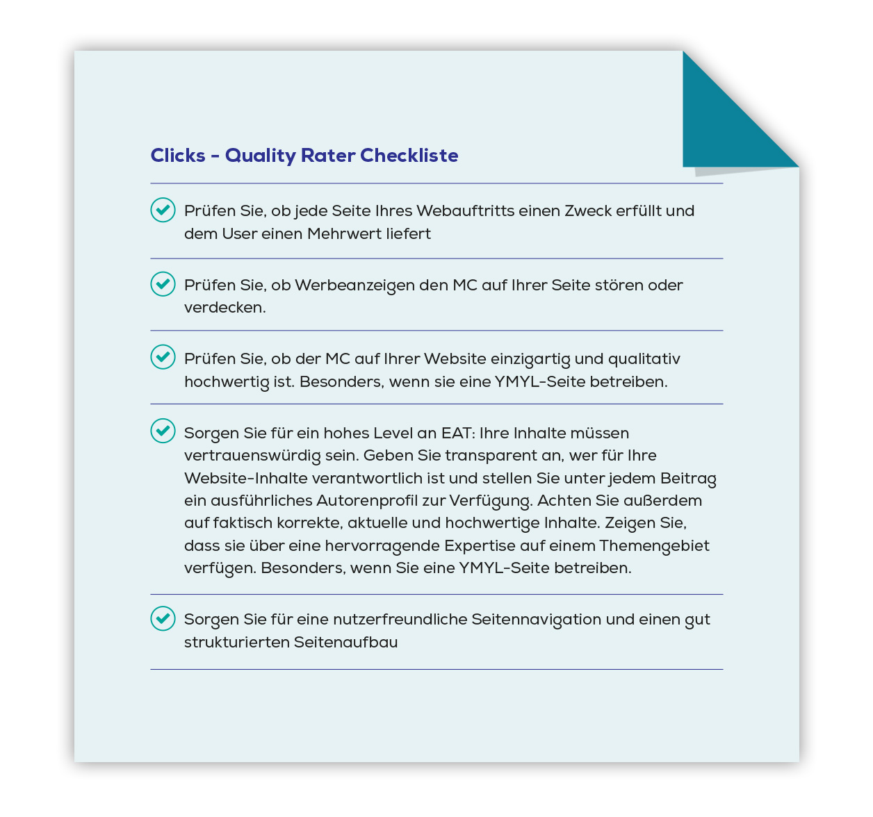 Checklist: Quality Rater Guideline
